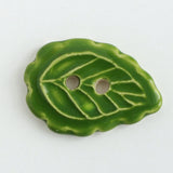 scallop leaf ceramic button, grass colorway