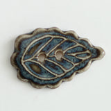 scallop leaf ceramic button, stormy sky colorway