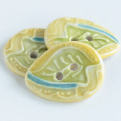 Leaf and Squiggle Oval Button