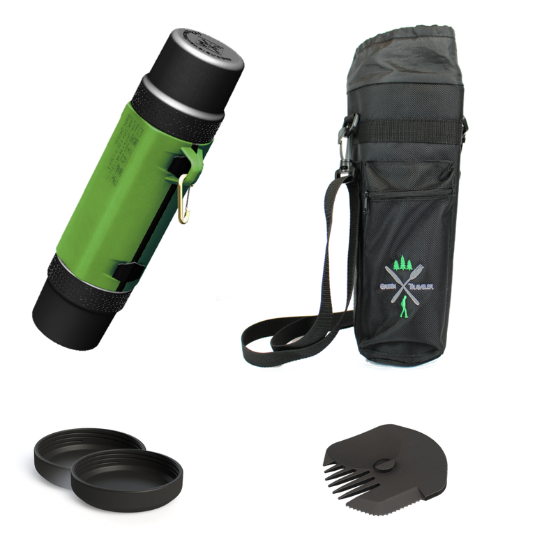 Backpack lunchbox combo bundle of the Patton Green GreenTraveler and all accessories, including the insulated bag, unique utensil, and two end caps