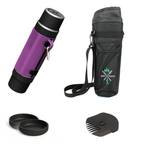 Best meal prep kit with the perfect lunchbox container, utensil and insulated bag in a bundle of the GreenTraveler in the Royal Purple color with black cups, lids.