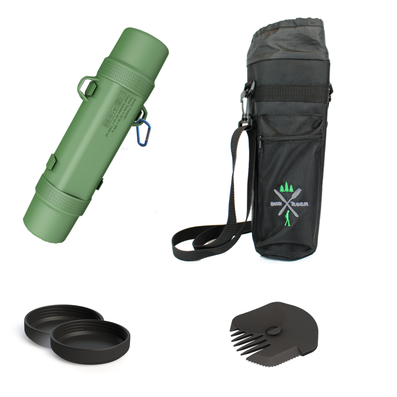 Backpack lunchbox combo bundle of the All Green Patton GreenTraveler and all accessories, including the insulated bag, unique utensil, and two end caps