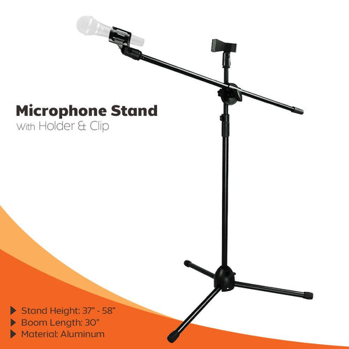 PARTYSAVING Microphone Stand Clip 360-degree Rotating Adjustable Boom Stand Tripod W/ Microphone Holder and Clip APL1156