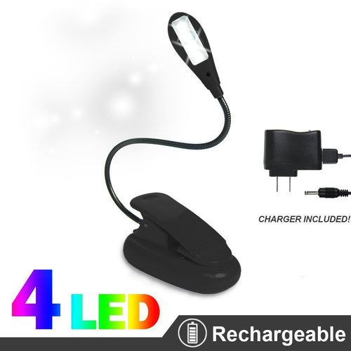 eTopLighting Extra-Bright 4 LED Rechargeable Clip Book, Easy Clip On 2 Brightness Setting, AC Charger & USB Cable Included APL1056