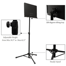 PARTYSAVING Orchestra Sheet Music Stand with Heavy Duty Black Metal Folding Design, APL1282