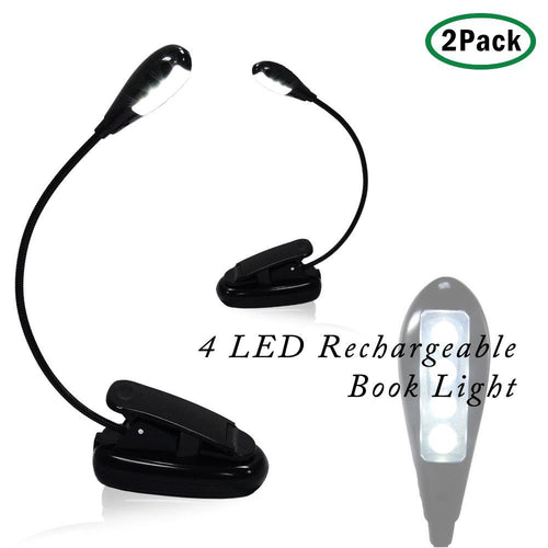 eTopLighting 2-Set 4 LED Super Bright Rechargeable Clip On Desk Clamp Lamp Book Light for Tablet, Music Stand APL1318