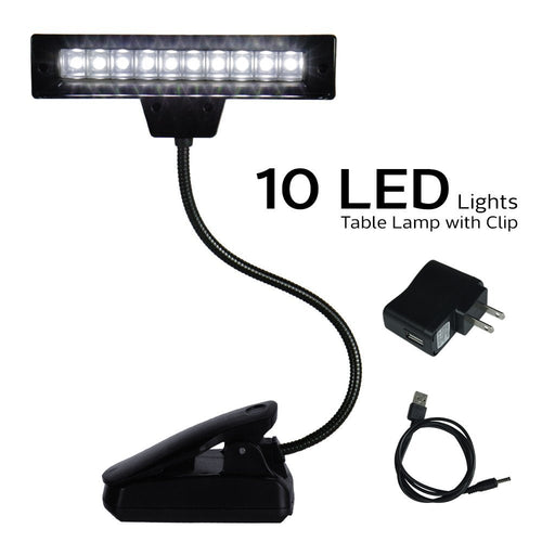 eTopLighting 10 LED Super Bright Lamp - Orchestra Music Stand Light Clip On Book Reading, Desk Travel Light APL1314