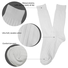 L'ESSENCE [4-Pack] Casual Dress Men's Crew Socks Cushion Moisture Wicking Cotton, LSE1001, White
