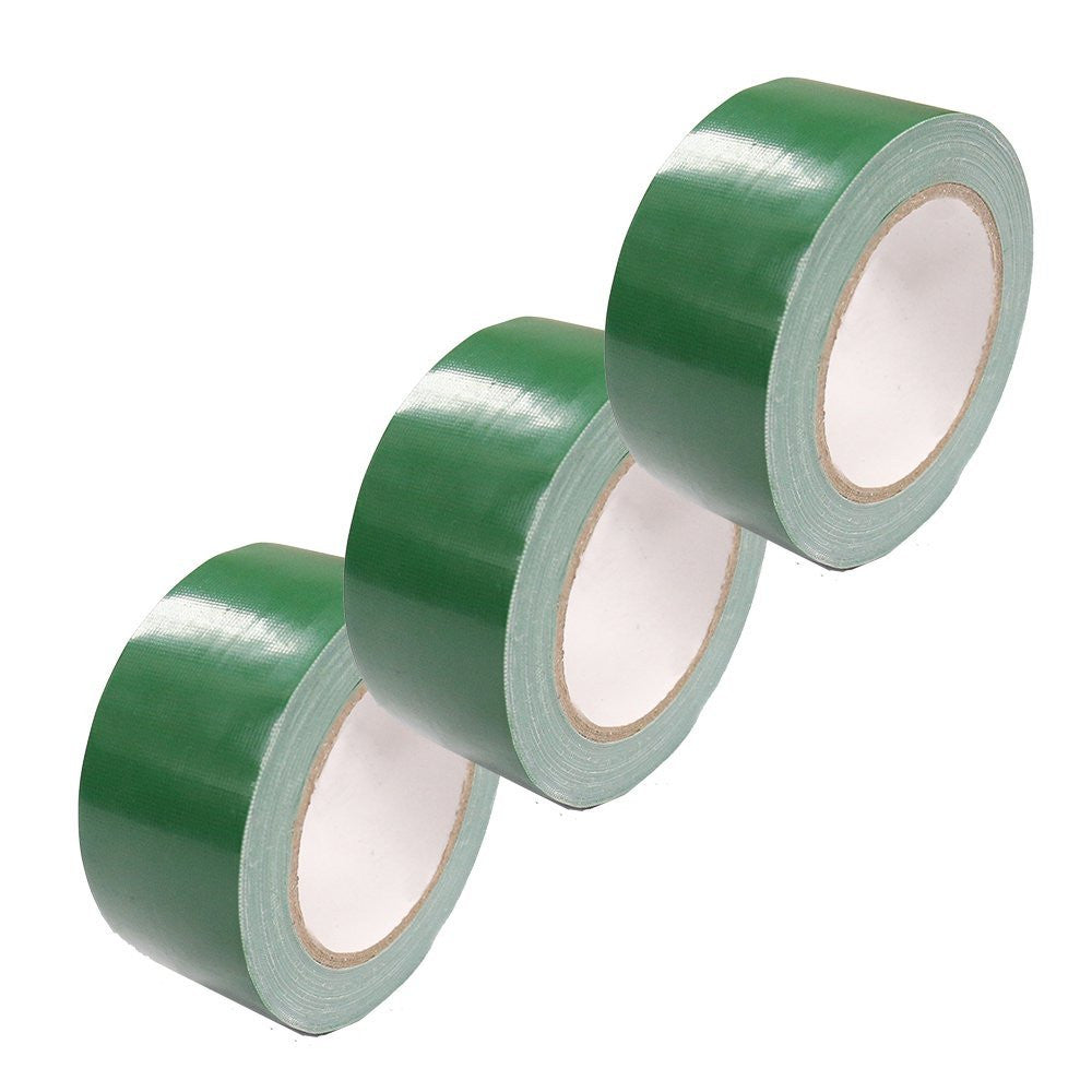 Professional 2-Inch by 30-Yard Utility Grade PE-Coated Cloth General Purpose Duct Tape (Pack of 3) APL1277, Green