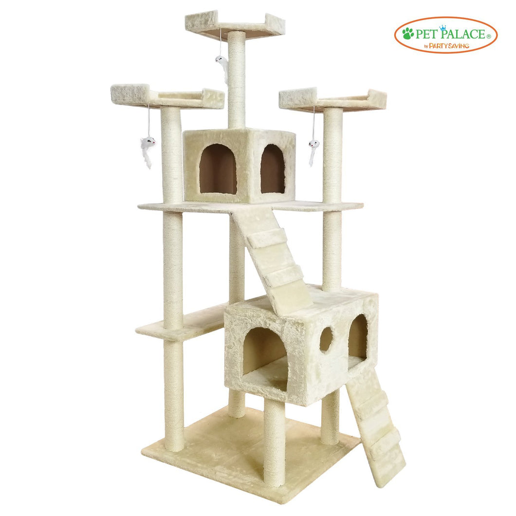 PET PALACE Extra Large Cat Kitten Activity Tower Tree with Condos and Deluxe Scratching Posts APL1341, Ivory