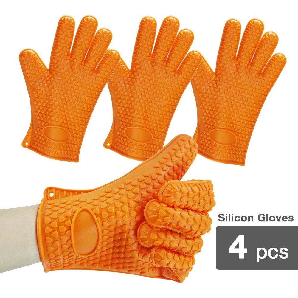 2-Pack Silicone Heat Resistant Oven Mitt Gloves