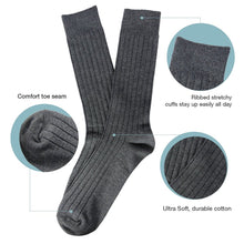 L'ESSENCE [4-Pack] Casual Dress Trouser Men's Crew Socks Cushion Moisture Wicking Cotton, LSE1003, Gray