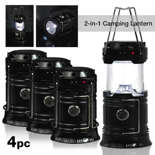 Camping Hiking 2-in-1 Solar Rechargeable LED Lantern