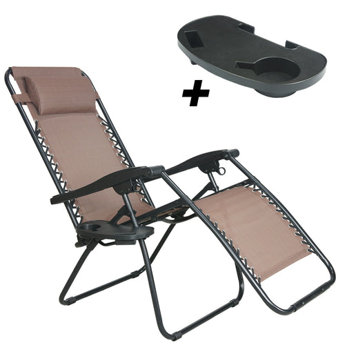 Patio and Outdoor Zero Gravity Reclining Chair, Brown