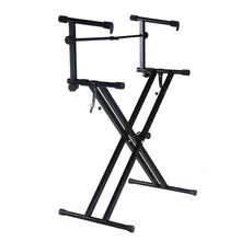 PARTYSAVING Pro Series Portable 2 Tier Doubled Keyboard Stand with Locking Straps , SRE1414
