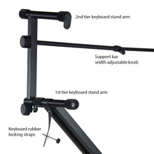 Pro Series Portable 2 Tier Doubled Keyboard Stand with Locking Straps