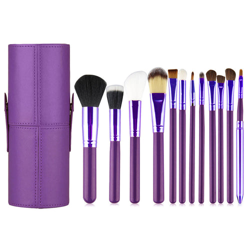 Makeup Brush 12 Pcs Set for Beginner Kit, Purple