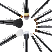 Makeup Brush 12 Pcs Set for Beginner Kit, Black