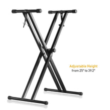 Pro Series Adjustable Double-Braced X Style Piano Keyboard Heavy Duty Premium Stand - Black , SRE1424