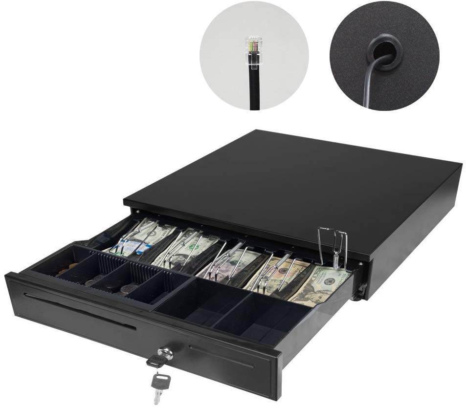 PARTYSAVING Point of Sales/Cash 12V Drawer Register Metal RJ-11 Key-Lock W/Bill & Movable Coin Trays , SRE1335