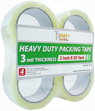"PARTYSAVING Heavy Duty Shipping Packaging Tape 2"" x 55 Yards, 2.6 to 3 Mil – Ultra Clear, Commercial & Industrial Grade , SRE1339"
