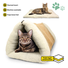 2 in 1 Pet Bed Snooze Tunnel and Mat, Beige