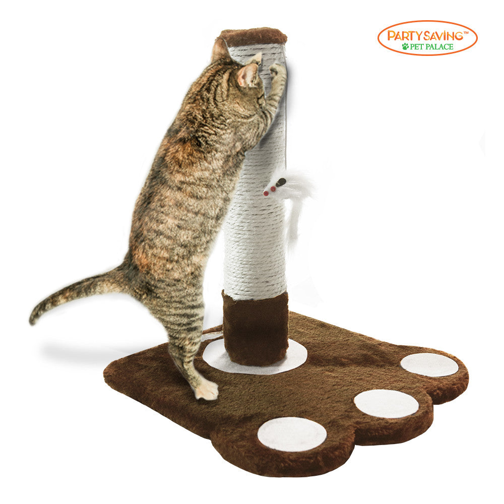 Cat Calw Scratching Post with Mouse Toy, Brown