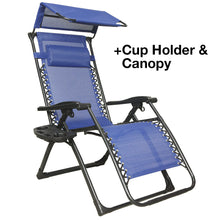 Patio and Outdoor Zero Gravity Reclining Chair with Cupholder and Shade