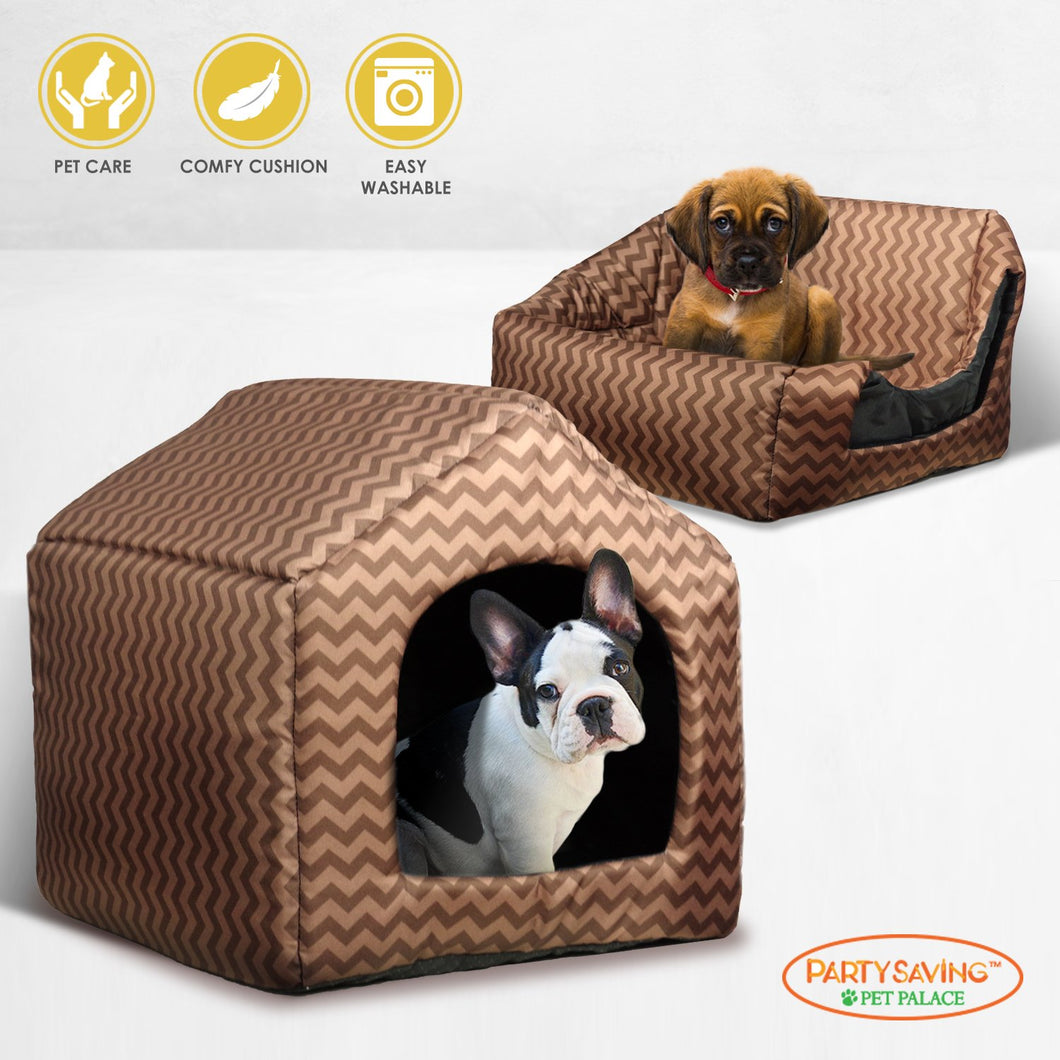 PARTYSAVING PET PALACE Brown Chevron Pattern Portable Washable Soft Pet Bed Fold-able House, Water Resistant, SRE1387