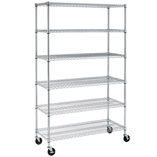 6-Tier Kitchen Shelf Rack 1800 lb Capacity, 72