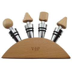 Wine Stopper Gift Set of 4 Wood Stoppers and Wood Base in Gift Box - Humidors Wholesaler