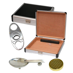 Aluminum 20 Count Cigar Traveler Kit (Cigar Cutter, Ashtray, Humidifier)