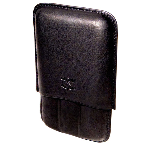 Black Leather Cigar Case with 3 Fingers Oil Buffed Leather - Humidors Wholesaler
