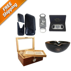 COMBO BISABUELO, Humidor for 100 Cigars, Case and Perfect Cutter 80 ring