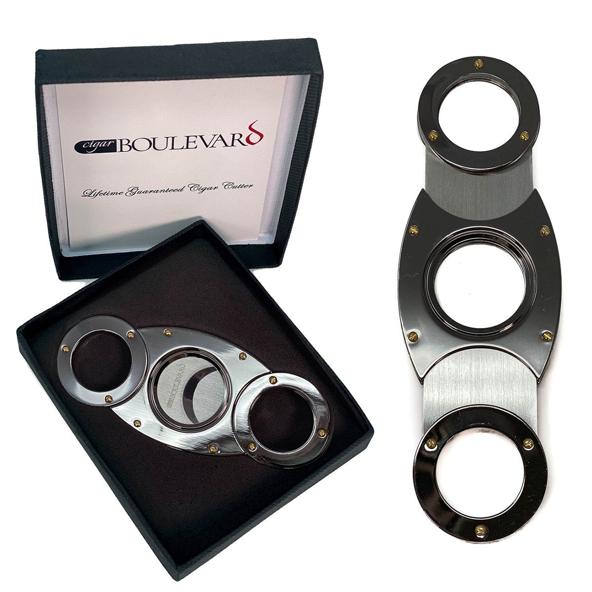 Cigar Cutter GUN METAL Double Stainless Steel Blades O Round Handles