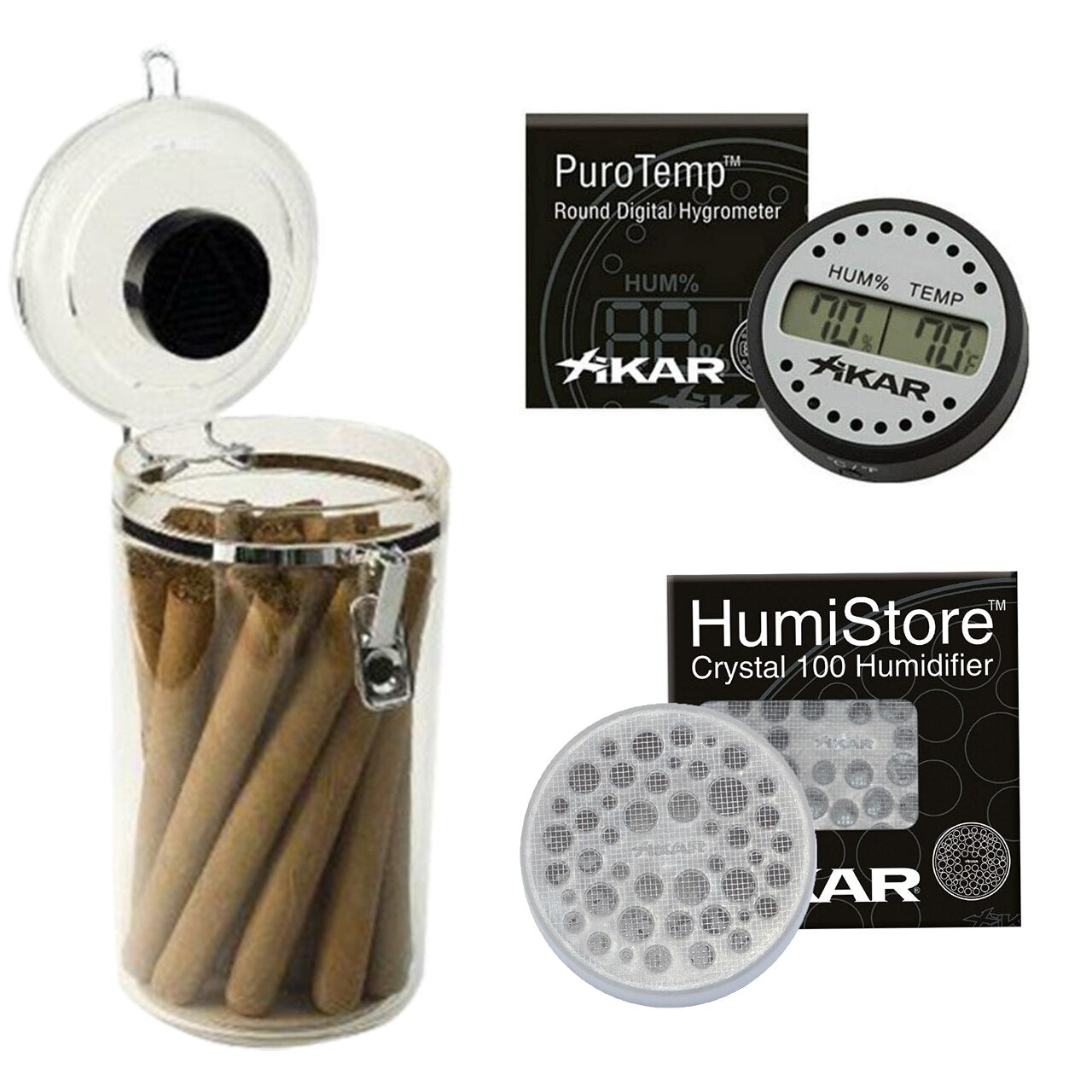 CBC Acrylic Cigar Jar Humidor Humidifier plus XIKAR Humi Store and Puro Temp XIKAR