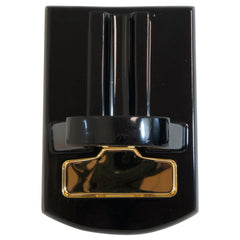 Desk Cigar Cutter Mesa Exotica High Gloss Black Wood with Gold - Humidors Wholesaler
