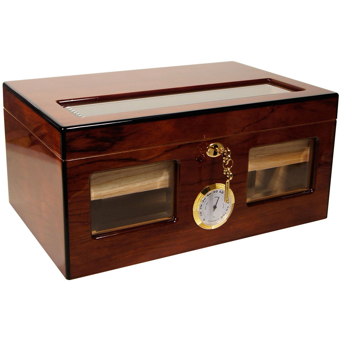 Glass Top Cigar Humidor Cuban Crafters BRAVO DOS ROSEWOOD for 120 Cigars