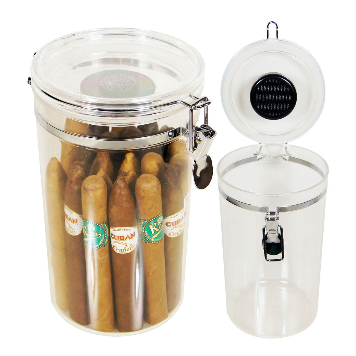 Acrylic Cigar Jar Humidor Humidifier for 25 Cigars
