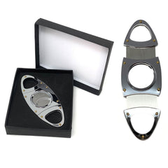 Cigar Cutter Silver DOUBLE Stainless Steel Blades V Handles