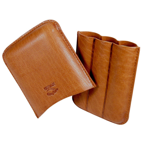 Cognac Cigar Case with 3 Fingers Handcrafted Oil Buffed Leather - Humidors Wholesaler