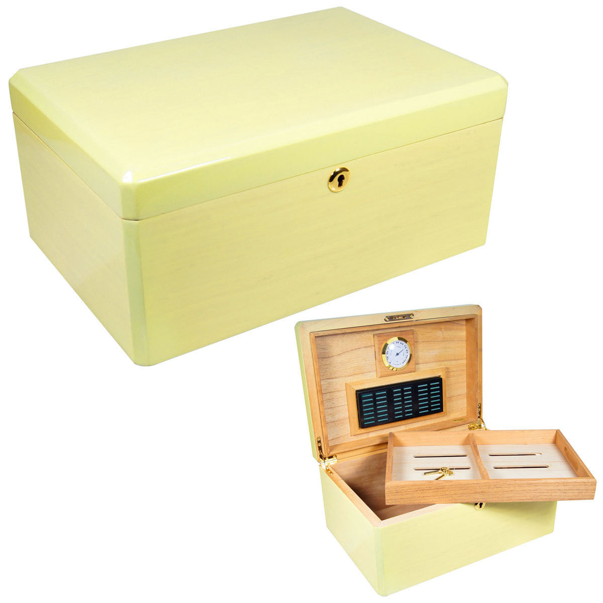 Colores Blanco White Citron Humidors for 100 Cigars - Humidors Wholesaler