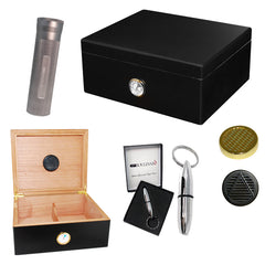 Combo BOULEVARD DELUXE BLACK (40 Cigar Humidor, Travel Tube & Punch Cigar Cutter)