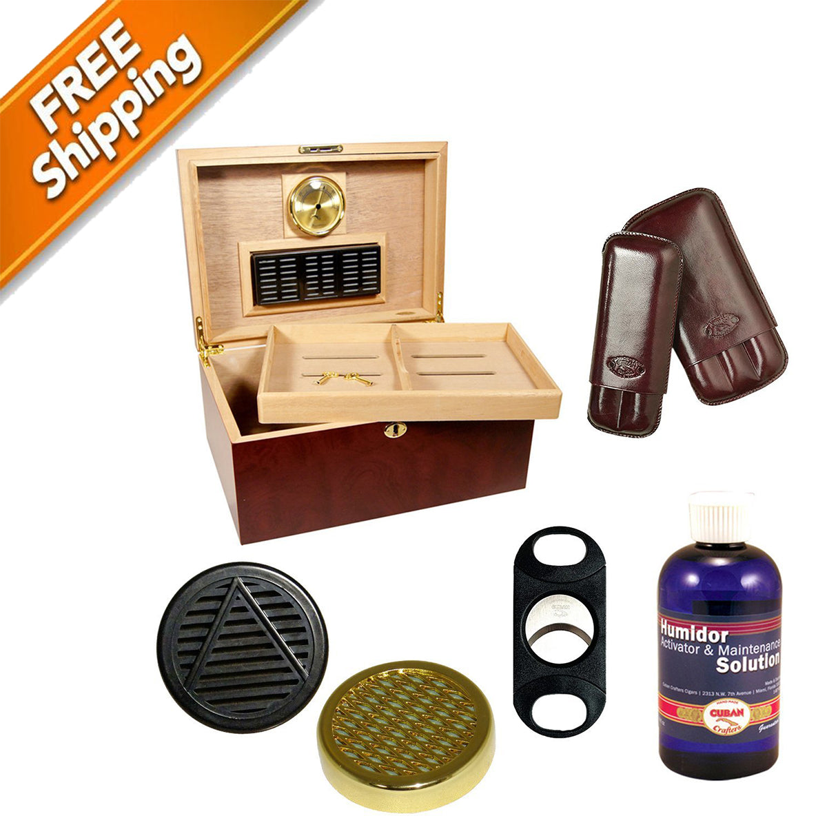 COMBO CLÁSICO Spanish Cedar Humidors and Accessories Cuban Crafters Combo Clasico