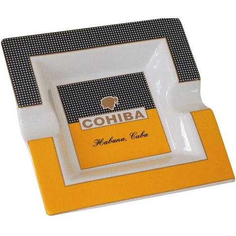 Ashtray COHIBA SQUARE Porcelain with Two Wide Grooves