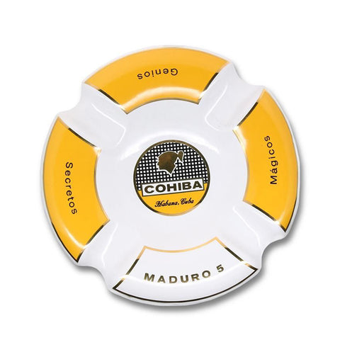 Ashtray COHIBA WHITE MADURO Porcelain with Four Wide Grooves