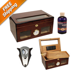 Gift Set Cigar Humidor Bravo for 120 cigars / Perfect Cutter / Humsol
