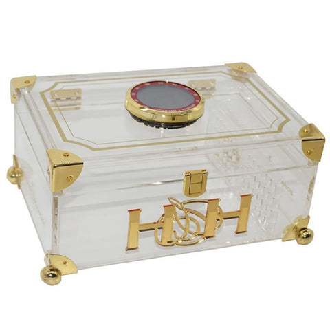 The CRYSTAL CLEAR Acrylic Humidor with Digital Hygrometer and Cedar Balls. 50 Cigars Capacity