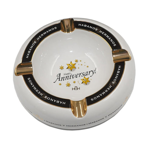 Ashtray HAPPY ANNIVERSARY White Porcelain with Four Wide Grooves