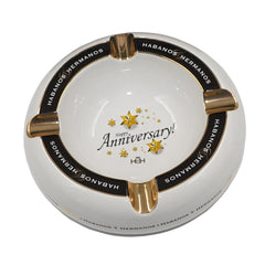 NEW Ashtray HAPPY ANNIVERSARY White Porcelain with Four Wide Grooves